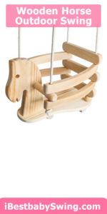 Wooden horse outdoor toddler swing
